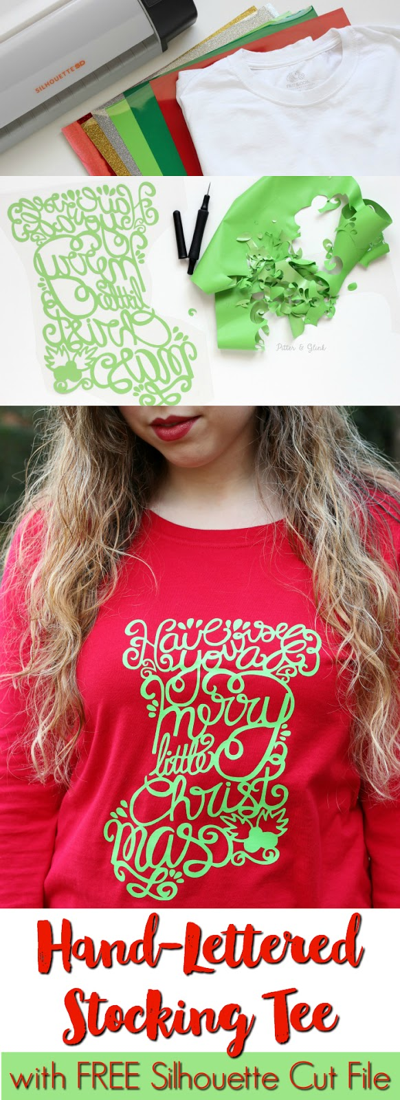 DIY Hand-Lettered Christmas Stocking Graphic Tee with Free Silhouette Cut File | www.pitterandglink.com