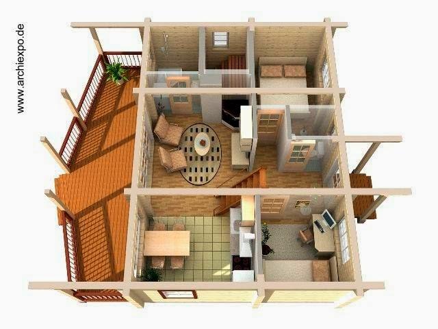 Casa de madera imagen de renderizado