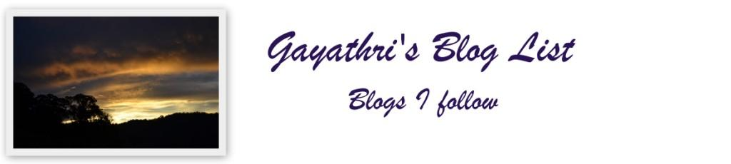 Gayathri's Blog List