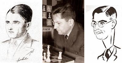 Los ajedrecistas Salo Flohr, Petar Trifunovic y Max Euwe