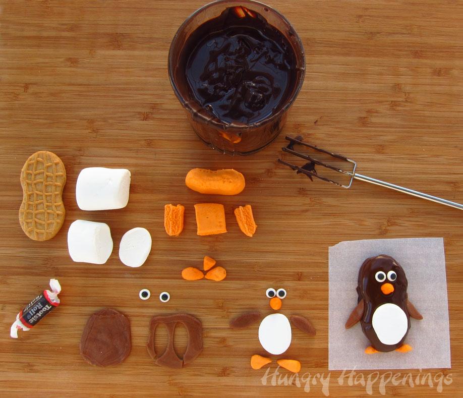 Dark Chocolate Nutter Butter Penguins Cute Christmas Treats