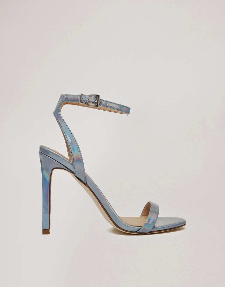 holograph heel shoes, pale blue shiny shoes,