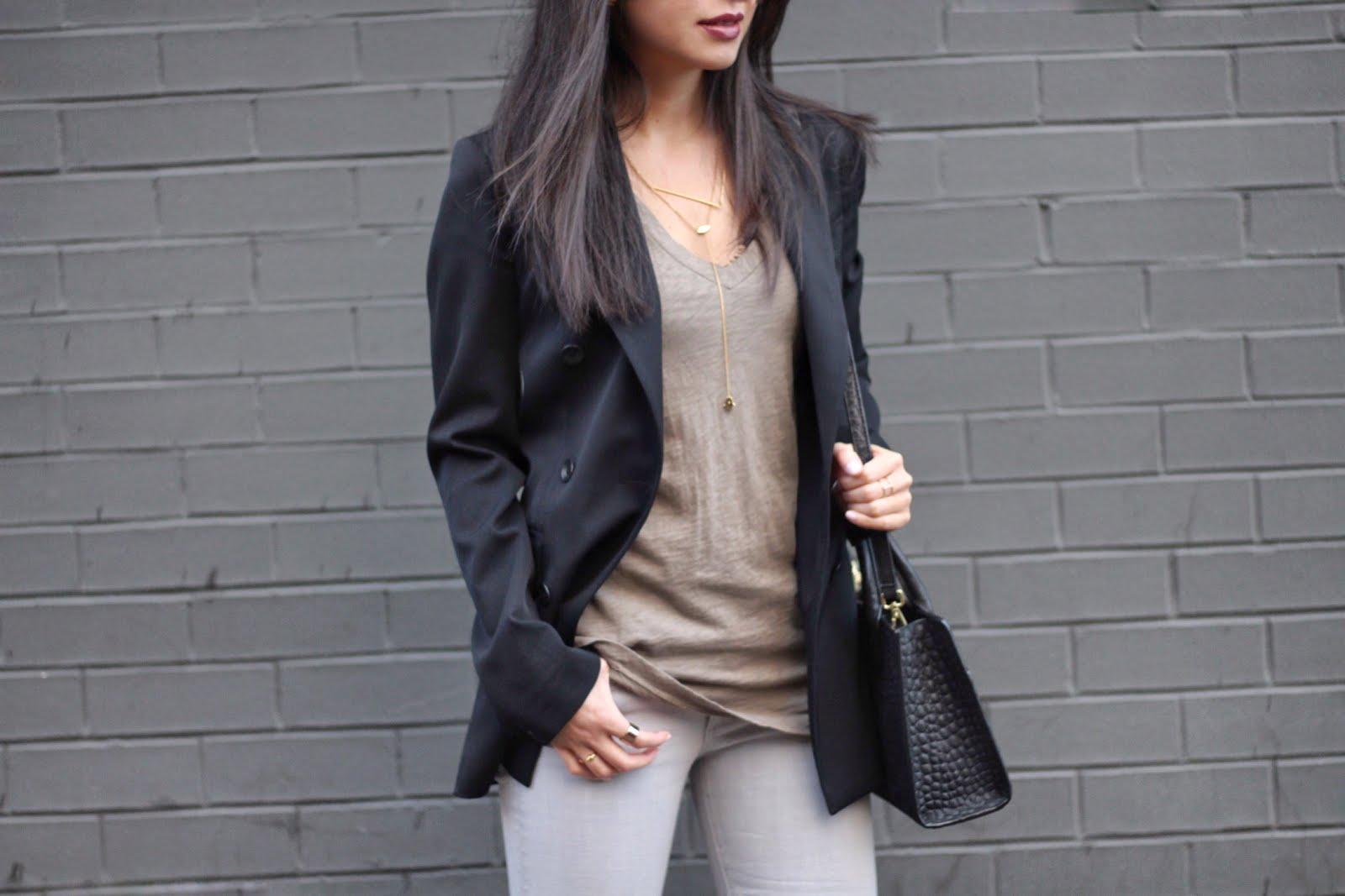 Rag & Bone scroll blazer gray jeans IRO Keira booties Emily Cho mini tote bag