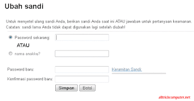 mengganti password gmail