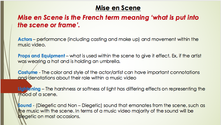 settings and actors whats mise en scene Mise-en scene is the french word what means everything in the scene/frame the mise-en scene is used in order to set the scene and setting, it allows audiences to one establish the genre but two it allows the audience to have a certain expectation based on the genre.