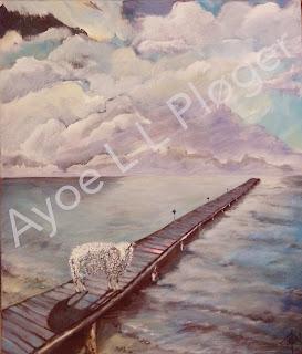 maleri, art, painting, modern, kunst, maleri,sky, sheep, vadehav,  himmel, skygge, vejret, får