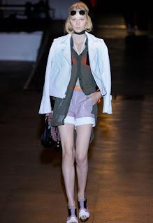 Rag & Bone lilac shorts and white biker jacket