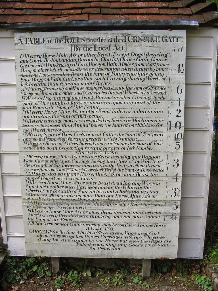 Table of tolls at the  Weald and Downland Open Air Museum