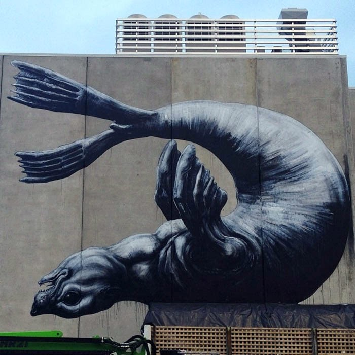 Baby Seal street art mural by Belgian Urban Artist ROA in Nelson, New Zealand. 4