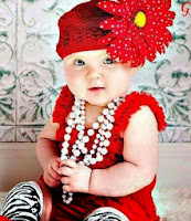 Babies Pictures With Red Dress & Cap Baby Images