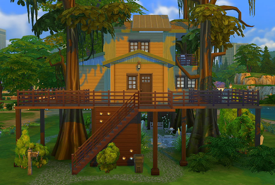 Urban treehouse sims 4 houses for Minimalist house sims 2