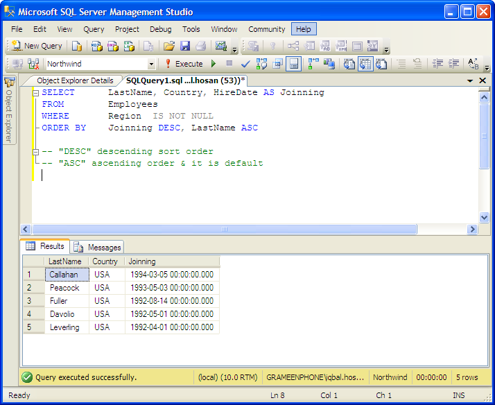 examples: ORDER BY Multiple Columns MSSQL Server Tutorial