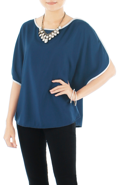 Oversized Pop Line Blouse – Midnight Blue