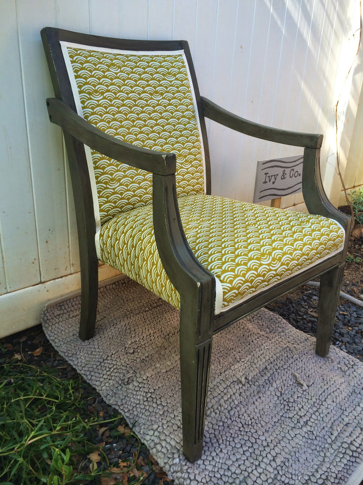 antique scallop arm chair vintage side of the road olive mustard Ivy & Co