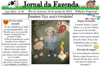 Convite infantil em formato de jornal