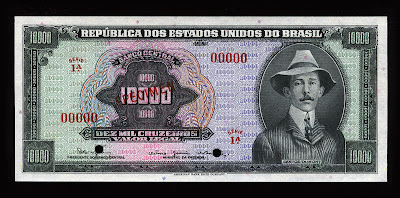 World money currency 10000 Brazil Cruzeiros Real Reais banknote bill