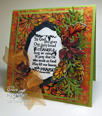 Stamps - Our Daily Bread Designs Autumn Blessings, ODBD Custom Fancy Foliage Die, ODBD Custom Fall Leaves and Acorn Die, Leaves Background, ODBD Custom Elegant Oval Die