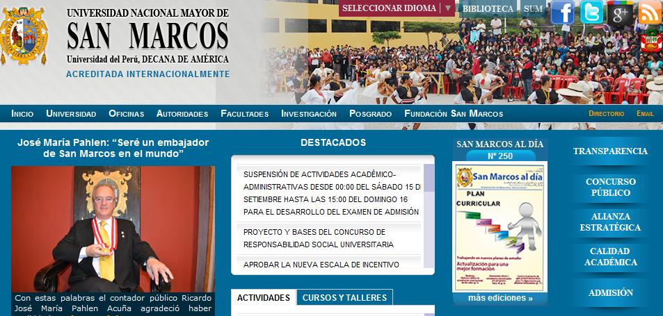 Resultados SAN MARCOS 2012 2013 I Lima Huaral Ingresantes 16 de Setiembre