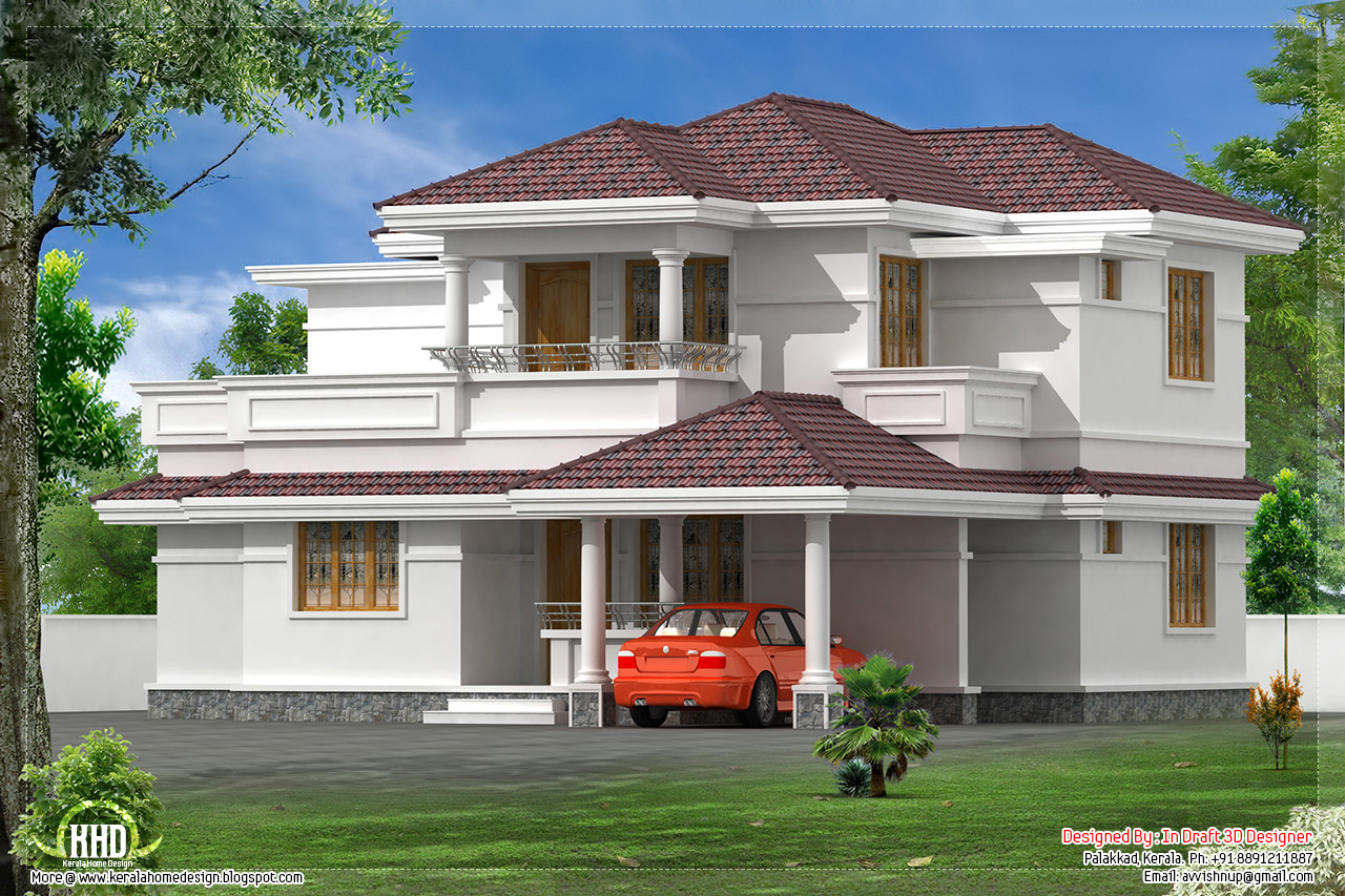 style villa design by in draft 3d designer palakkad kerala