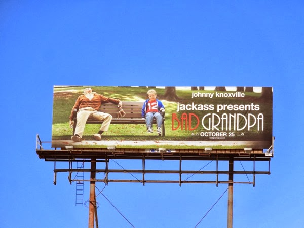 Bad Grandpa drunk park bench billboard