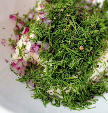 dill, red onion, and pepper schmear
