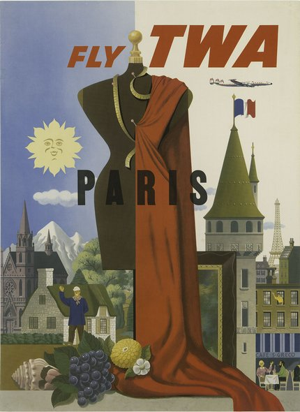 classic posters, free download, graphic design, retro prints, travel, travel posters, vintage, vintage posters, Paris, Fly TWA - Vintage France Travel Poster