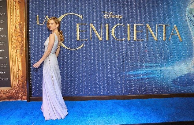 So chic and dramatically! As Dailymail.co.uk report, Lily James, 25, gathered about the blue carpet on the next steps for the Cinderella premier at Polanco in Mexico City, Mexico on Thursday, March 5, 2015.