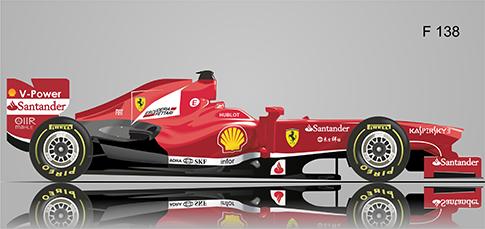 """Fórmula 1  Ferrari """"F138"""" - vectorial"""