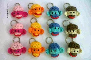 Gantungan Kunci Rajut, Monkey Amigurumi, Crochet Key Chain