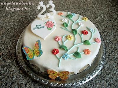 Tavaszi szülinapi torta recept, tejtermék mentes sütemény, csokoládé krémes, fehér marcipánnal bevont, tavaszi díszítéssel.