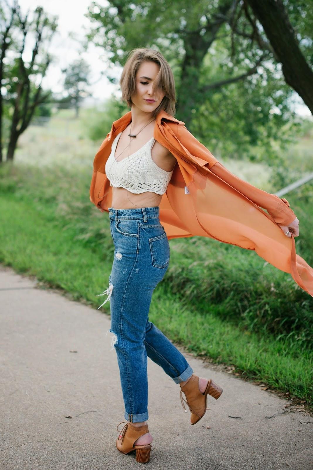 High waist jeans + kimono + crop | In good faith, Tess