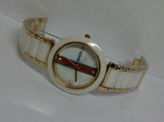 jam tangan gucci keramik putih