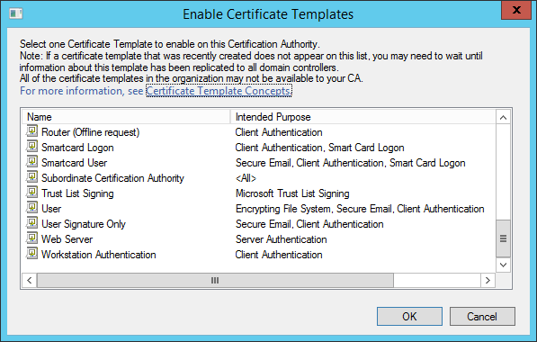 Eye tee certificate templates not appearing in windows server 2012 because it doesnt appear it just doesnt appear why where are the error messages microsoft yelopaper Choice Image