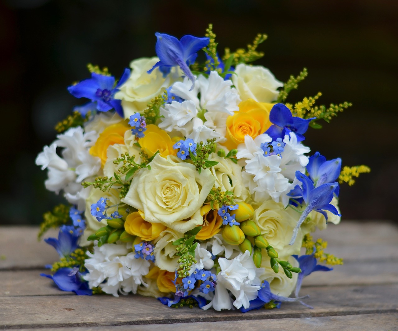 Yellow And Blue Flowers Bouquet Marymarfo