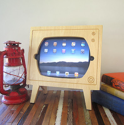 Etsy Miterbox Handmade Natural Wood iPad Dock