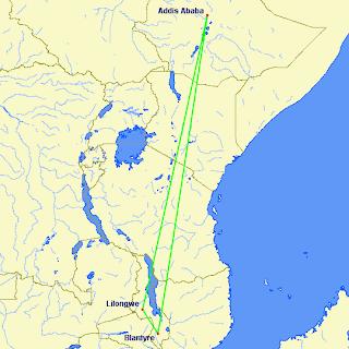 Ethiopian's Malawi route network