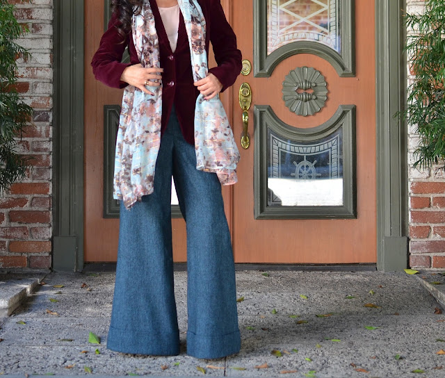 Simply Vera Wang floral scarf rose quartz piace blouse burgundy velvet blazer, Express wide-leg serenity trousers