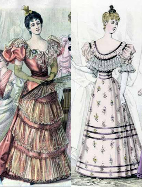 1890s evening gowns, late Victorian dresses, fashion plates