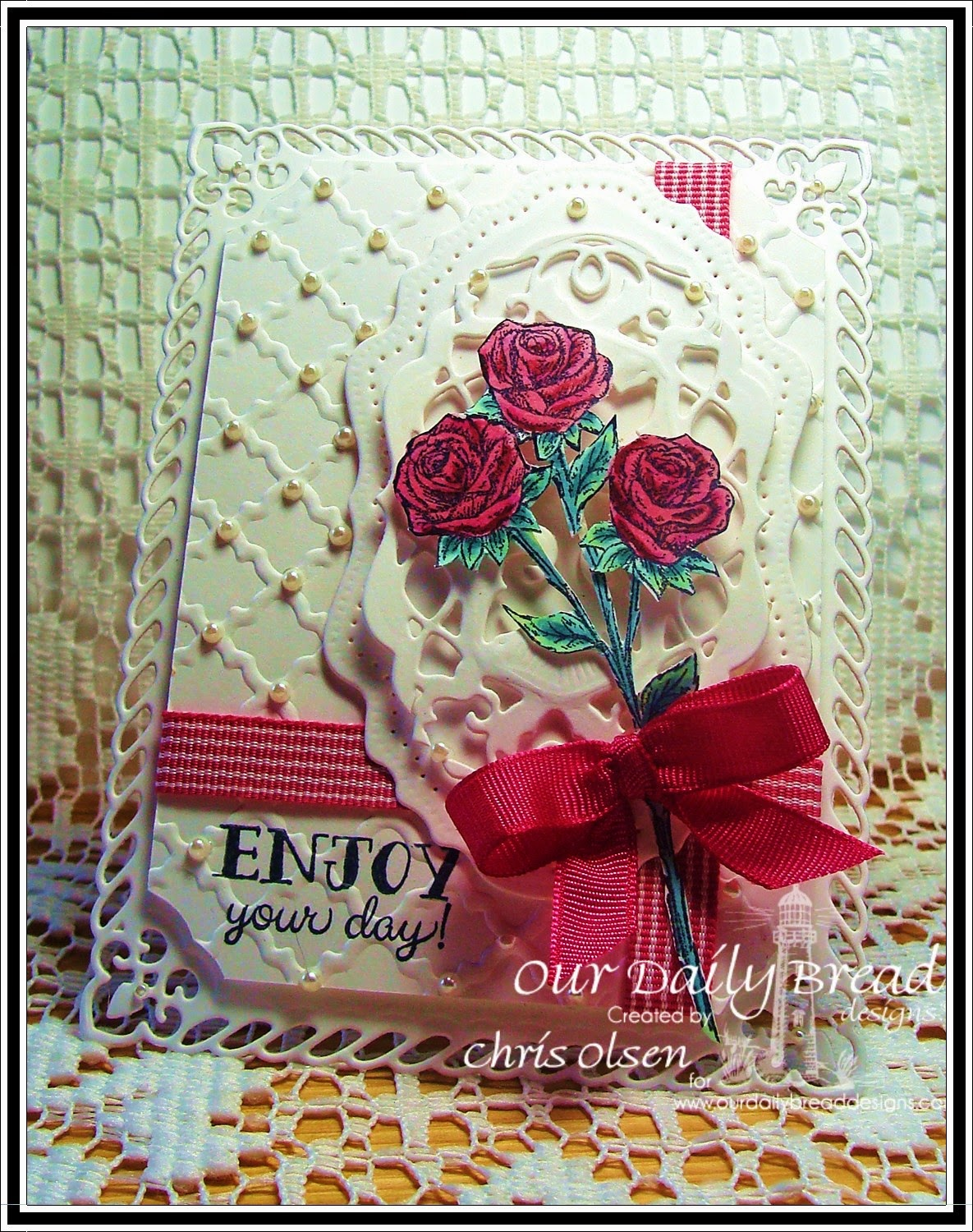 Our Daily Bread Designs, Flip Flop Fun, Rose, Vintage Labels dies, Vintage Flourish Pattern Dies, designer-Chris Olsen