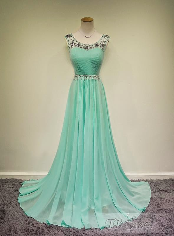 Graceful A-line Scoop Neck Beadings Floor-Length Evening/Prom Dress