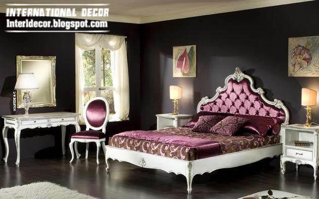 Luxury Classic Bedroom Furniture Italian Design Purple Bed