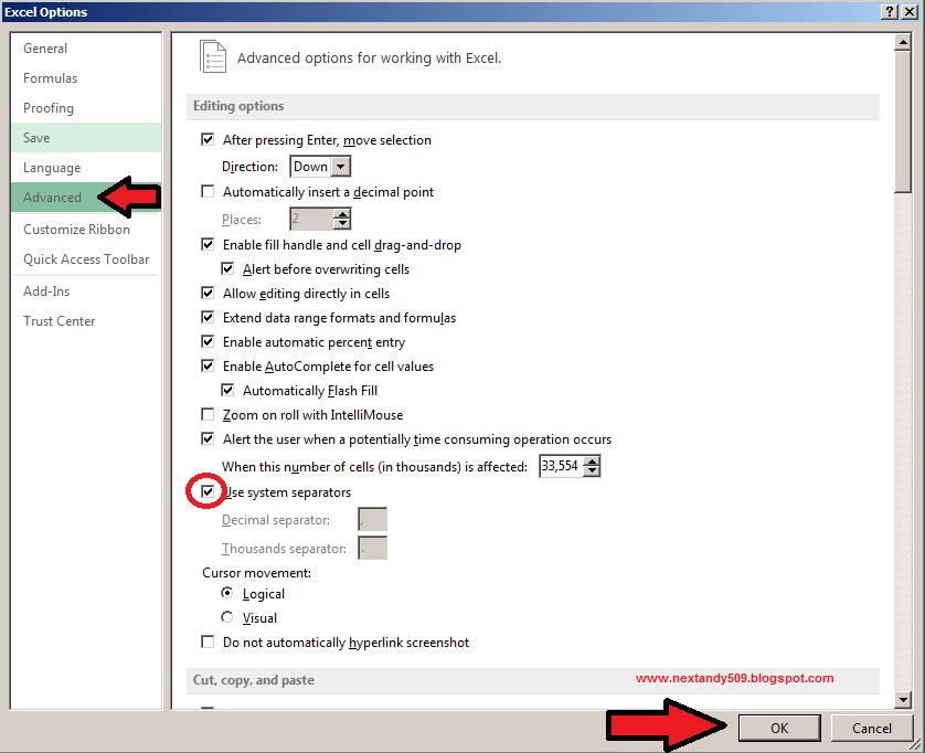 Menu Advanced Microsoft Excel 2013