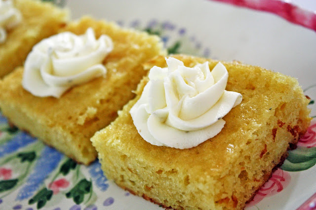 vegan lemon blondies with thyme buttercream