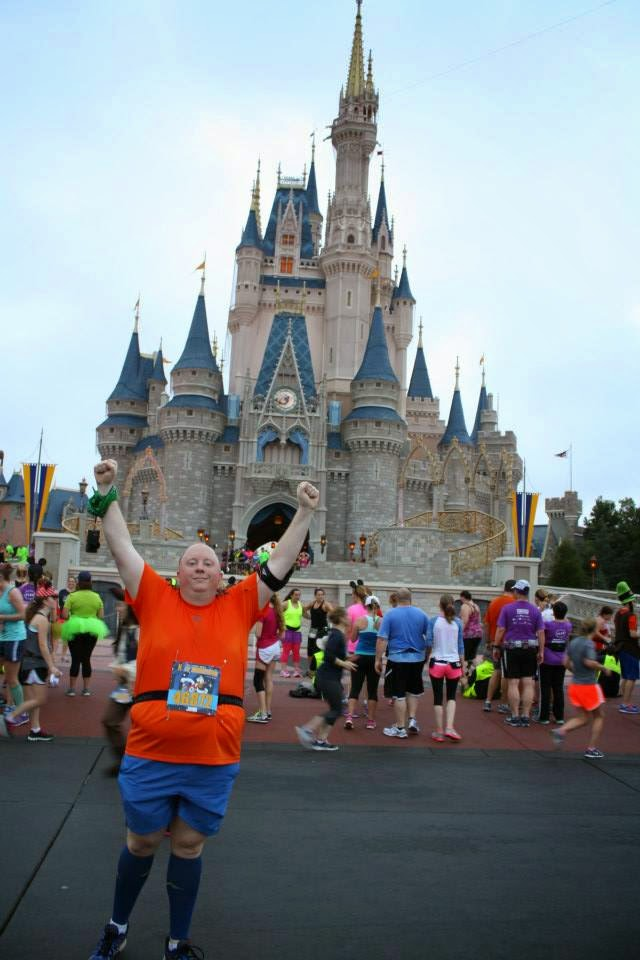 Running in front of castle