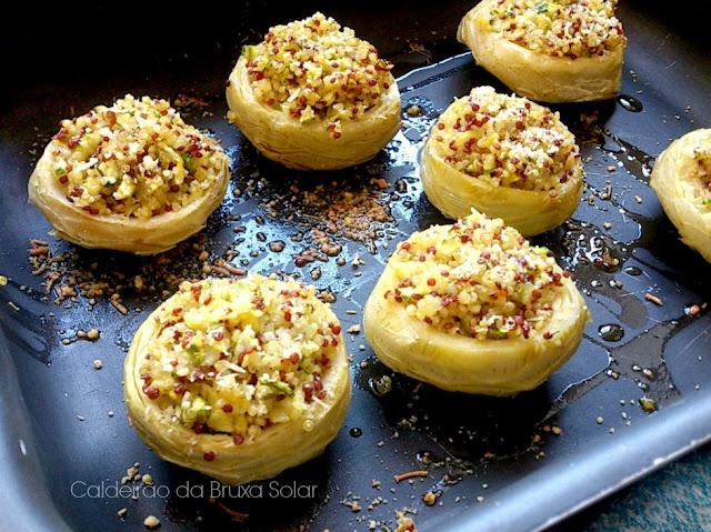 Fundo de alcachofra com recheio de quinoa ao limão