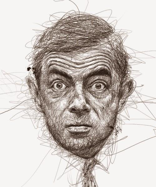 11-Mr-Bean-Rowan-Atkinson-Malaysian-Artist-Vince-Low-Scribble-Dyslexia-www-designstack-co