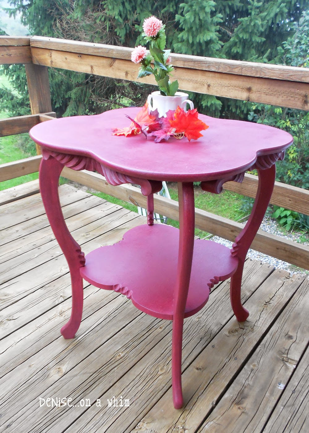 Curvy Legs on an Antique Table Makeover from Denise on a Whim