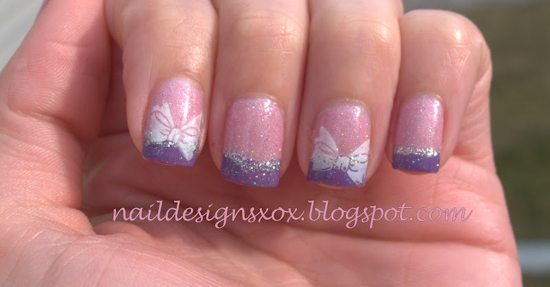 The Appealing Pink nail designs with silver glitter Picture