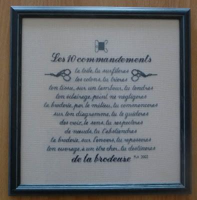 Les 10 Commandement de la Brodeuse,Broderie