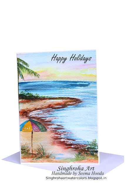 seashore,beach,sea,umbrella,water,bythesea, landscape,seascape,beachscene,summer,holidays,hot, handmade,watercolor,watercolour,card,greetingcard